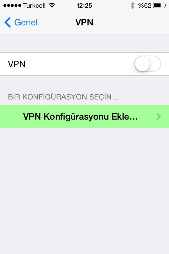 VPN konfigürasyonu ekle