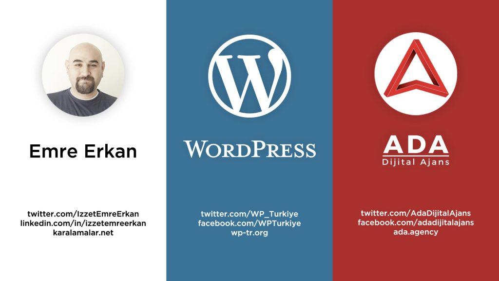 Emre Erkan, WordPress Türkiye ve Ada Dijital Ajans'ın iletişim bilgileri