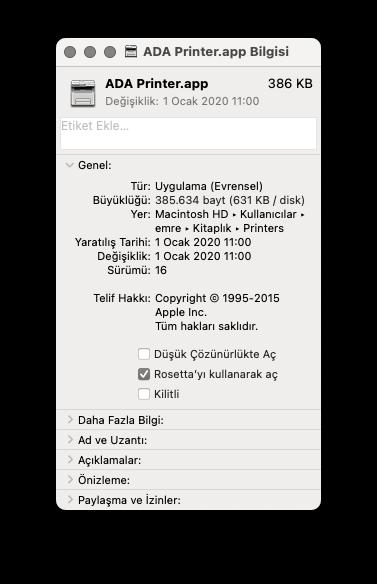 Yazıcı bilgi penceresi